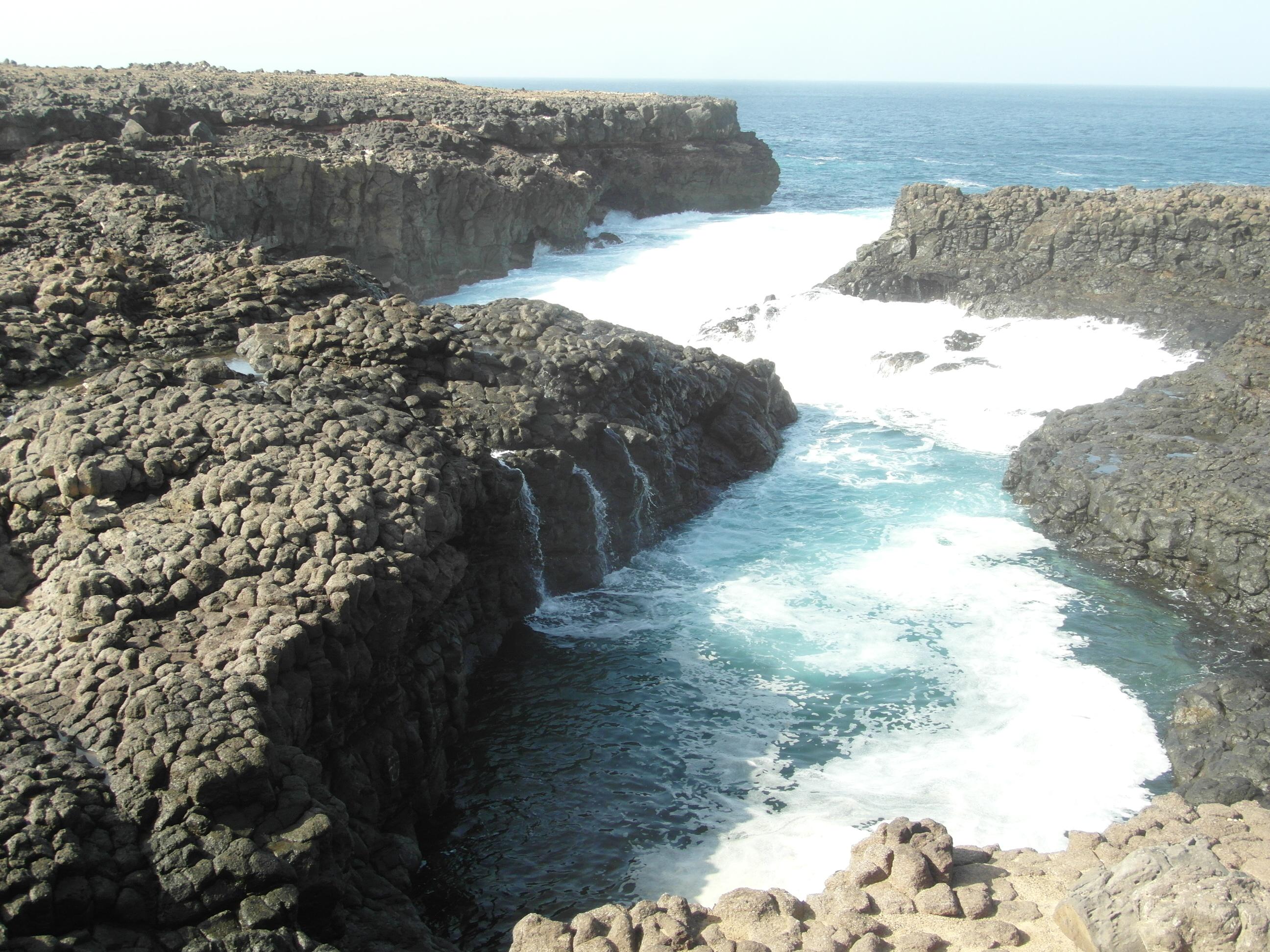 volcanic rocks and rugged coastline